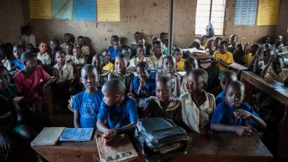 Rural children in schoolhouse